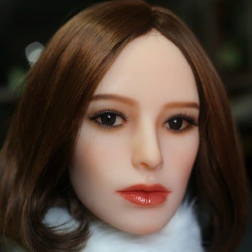 Sex Doll Head - #126 with Short Brown Hair - My Silicone Love Doll