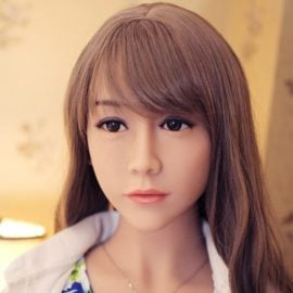 Brown Eyed Sex Doll Head - #85 Long Brown Hair - My Silicone Love Doll